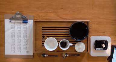 The tea cupping process